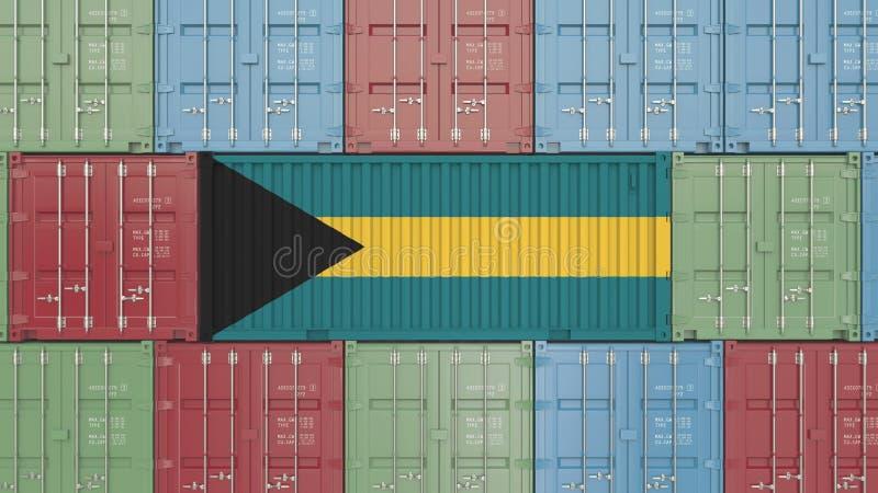 Contenitore con la bandiera delle Bahamas Le merci delle Bahama hanno collegato la rappresentazione concettuale 3D illustrazione vettoriale