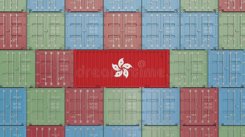 Contenitore con la bandiera di Hong Kong Rappresentazione relativa 3D dell'esportazione o dell'importazione royalty illustrazione gratis
