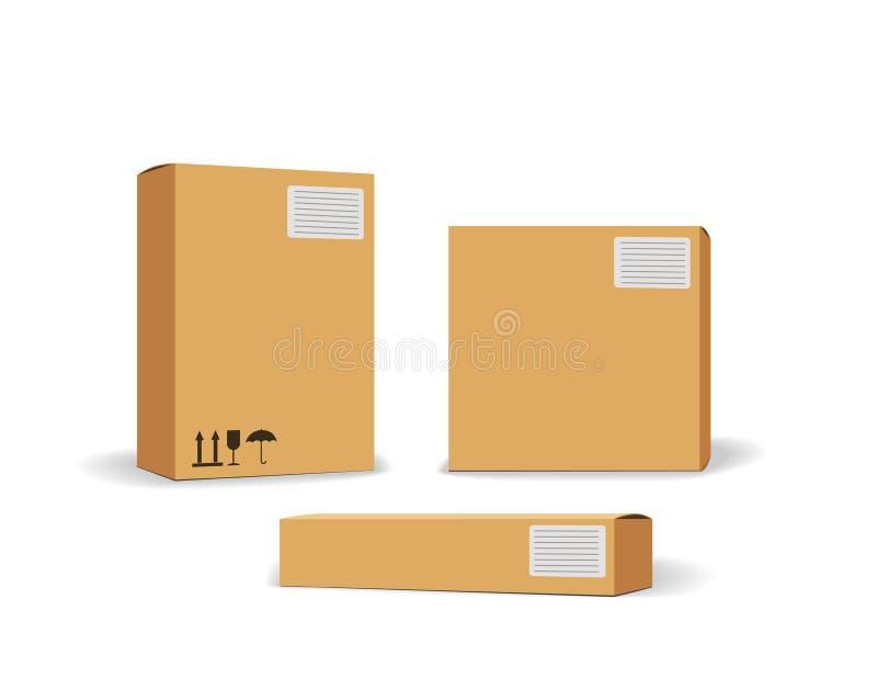 Contenitore d'imballaggio di cartone Insieme di consegna dei pacchetti graduati differenti con i segni postali di fragile Insieme royalty illustrazione gratis