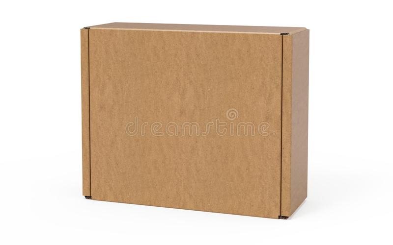 Contenitore d'imballaggio stante di cartone ondulato su fondo bianco immagine stock libera da diritti