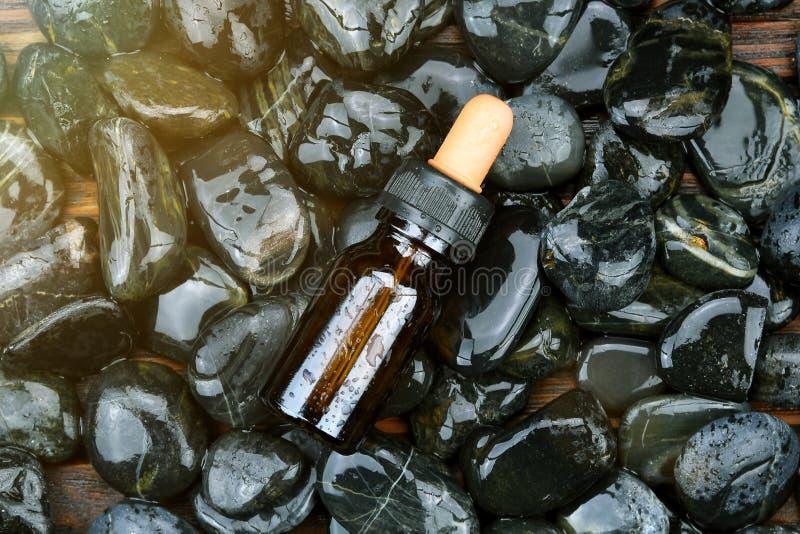 Contenitore del pacchetto della bottiglia dei cosmetici su sfondo naturale fotografia stock