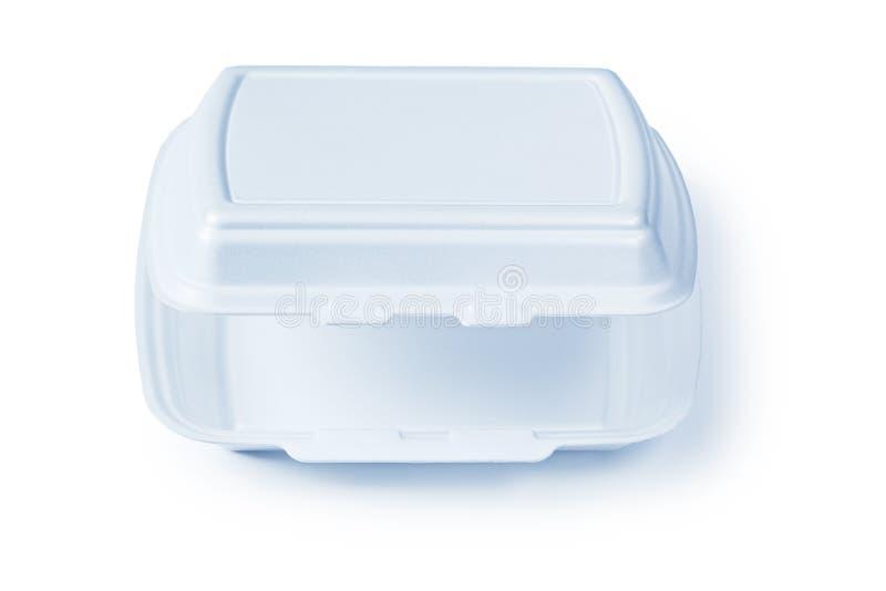 Contenitore di alimento aperto del polistirene espanso isolato su bianco fotografie stock libere da diritti