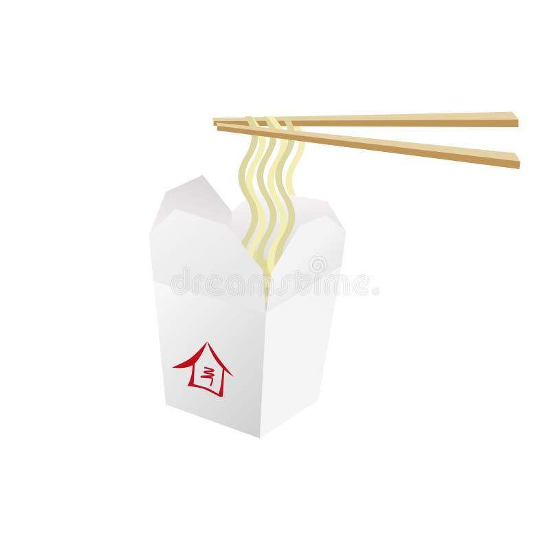 Contenitore di alimento del wok con le tagliatelle fotografia stock