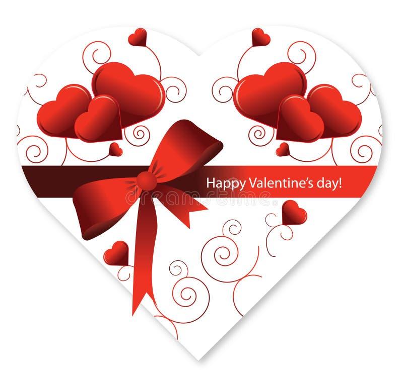 Contenitore di caramella del cuore di figura di giorno del biglietto di S. Valentino illustrazione vettoriale