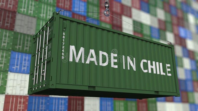 Contenitore di caricamento con fatto nel titolo del Cile Rappresentazione relativa cilena 3D dell'esportazione o dell'importazion illustrazione vettoriale