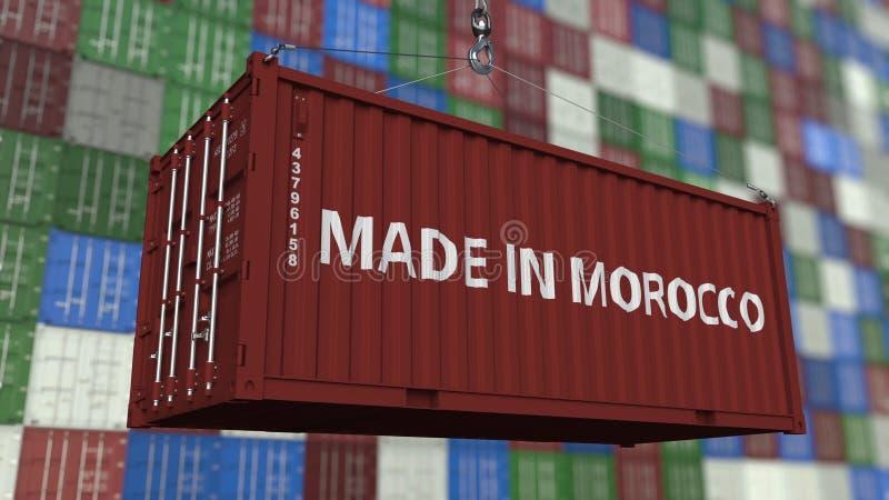 Contenitore di caricamento con FATTO nel titolo del MAROCCO Rappresentazione relativa marocchina 3D dell'esportazione o dell'impo illustrazione vettoriale