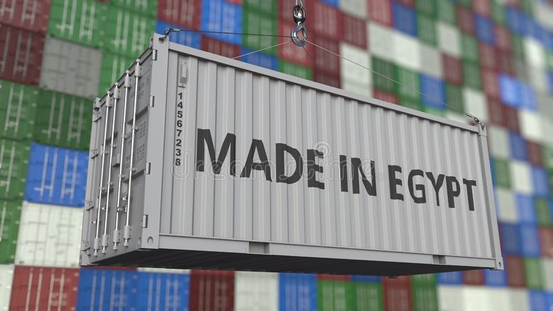 Contenitore di caricamento con FATTO nel titolo dell'EGITTO Rappresentazione relativa egiziana 3D dell'esportazione o dell'import illustrazione vettoriale