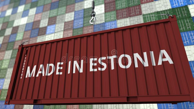 Contenitore di caricamento con fatto nel titolo dell'Estonia Rappresentazione relativa estone 3D dell'esportazione o dell'importa royalty illustrazione gratis