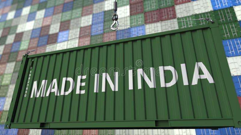 Contenitore di caricamento con fatto nel titolo dell'India Rappresentazione relativa indiana 3D dell'esportazione o dell'importaz illustrazione di stock