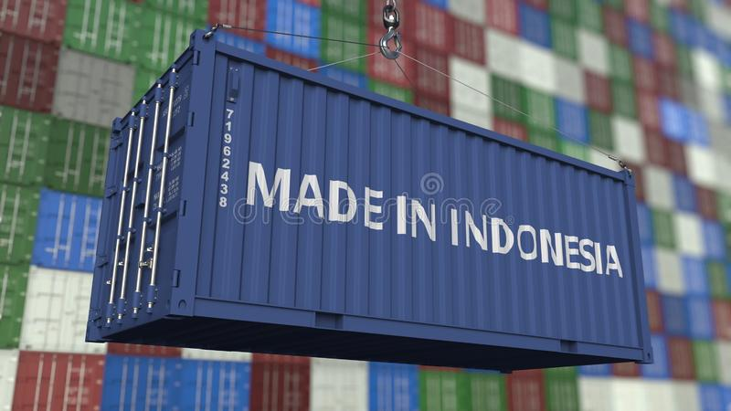 Contenitore di caricamento con FATTO nel titolo dell'INDONESIA Rappresentazione relativa indonesiana 3D dell'esportazione o dell' royalty illustrazione gratis