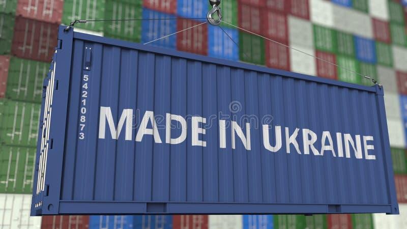 Contenitore di caricamento con FATTO nel titolo dell'UCRAINA Rappresentazione relativa ucraina 3D dell'esportazione o dell'import royalty illustrazione gratis
