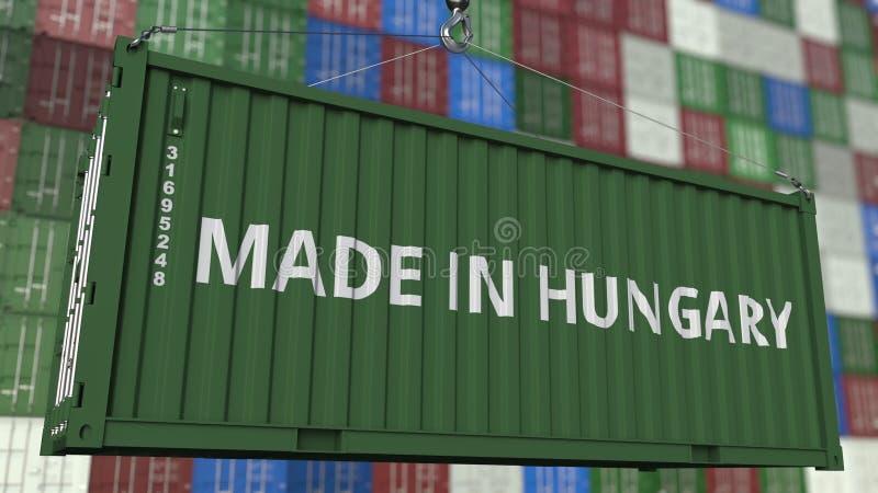 Contenitore di caricamento con FATTO nel titolo dell'UNGHERIA Rappresentazione relativa ungherese 3D dell'esportazione o dell'imp illustrazione di stock