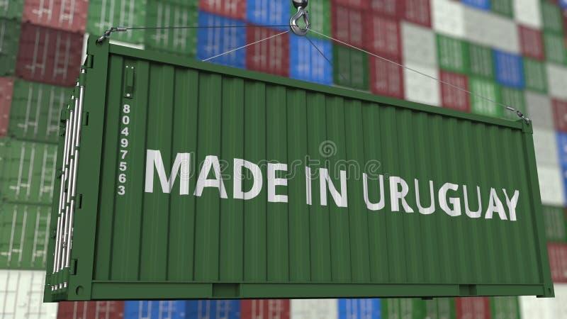 Contenitore di caricamento con fatto nel titolo dell'Uruguay Rappresentazione relativa uruguaiana 3D dell'esportazione o dell'imp royalty illustrazione gratis