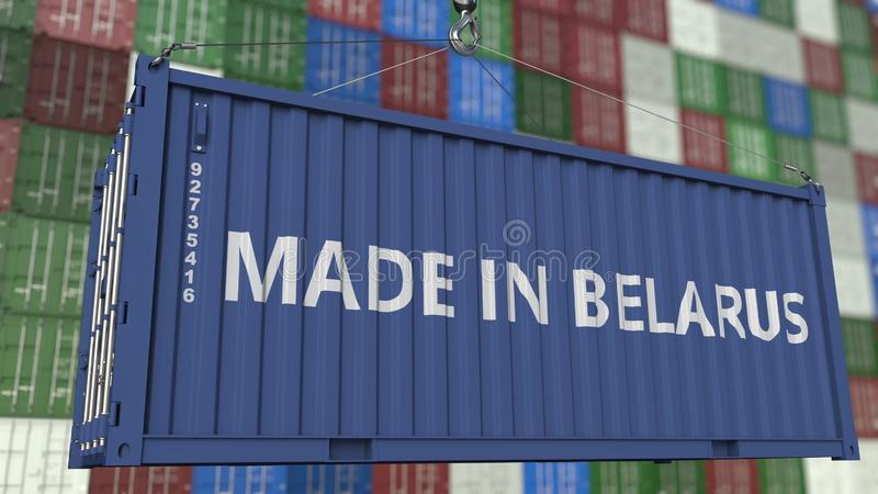 Contenitore di caricamento con fatto nel titolo della Bielorussia Rappresentazione relativa bielorussa 3D dell'esportazione o del illustrazione di stock