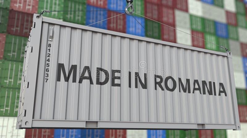Contenitore di caricamento con fatto nel titolo della Romania Rappresentazione relativa rumena 3D dell'esportazione o dell'import illustrazione vettoriale