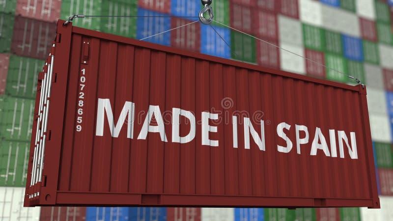 Contenitore di caricamento con fatto nel titolo della Spagna Gli Spagnoli importano o esportano la rappresentazione relativa 3D illustrazione di stock