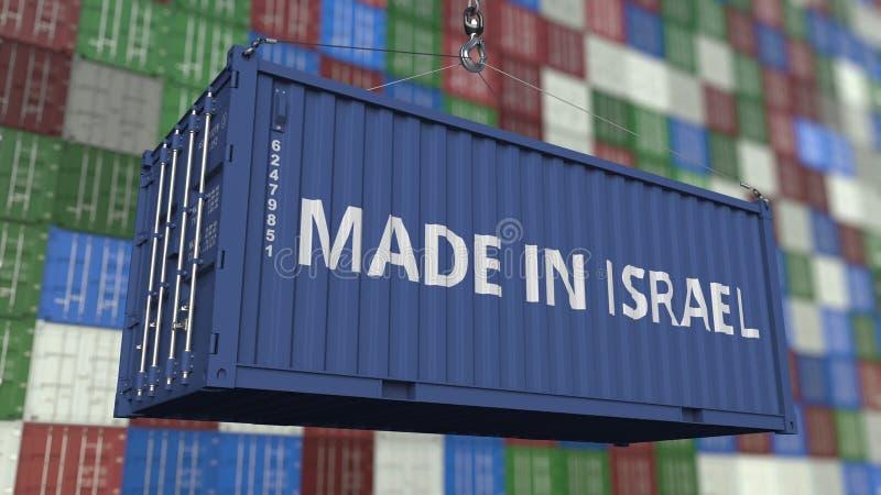 Contenitore di caricamento con FATTO nel titolo di ISRAELE Rappresentazione relativa israeliana 3D dell'esportazione o dell'impor royalty illustrazione gratis