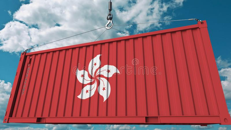 Contenitore di caricamento con la bandiera di Hong Kong Rappresentazione concettuale relativa 3D dell'esportazione o dell'importa royalty illustrazione gratis