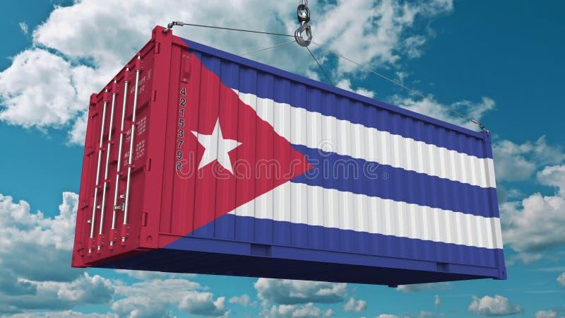 Contenitore di carico di caricamento con la bandiera di Cuba L'importazione o l'esportazione cubana ha collegato la rappresentazi illustrazione vettoriale