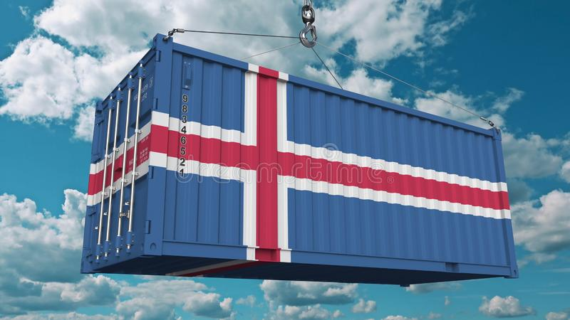 Contenitore di carico di caricamento con la bandiera dell'Islanda L'importazione o l'esportazione islandese ha collegato la rappr illustrazione di stock