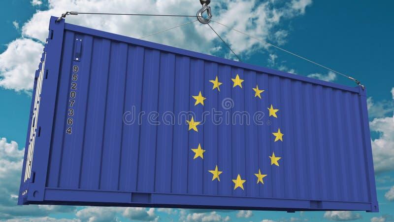 Contenitore di carico di caricamento con la bandiera dell'UE L'importazione o l'esportazione dell'Unione Europea ha collegato la  illustrazione vettoriale