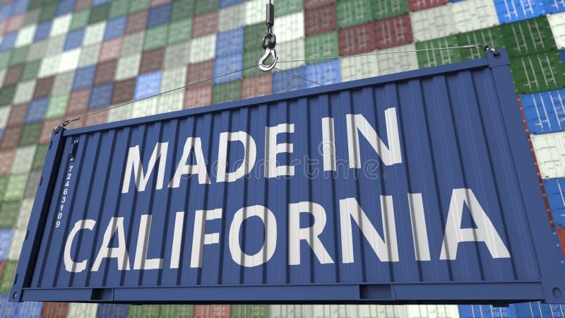 Contenitore di carico con FATTO nel titolo di CALIFORNIA Rappresentazione relativa 3D dell'esportazione o dell'importazione illustrazione di stock