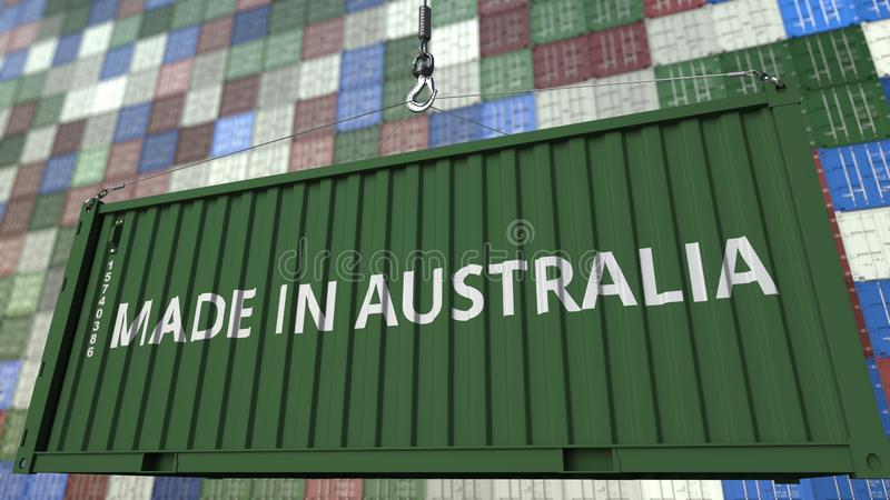 Contenitore di carico con FATTO nel titolo dell'AUSTRALIA Rappresentazione relativa australiana 3D dell'esportazione o dell'impor royalty illustrazione gratis
