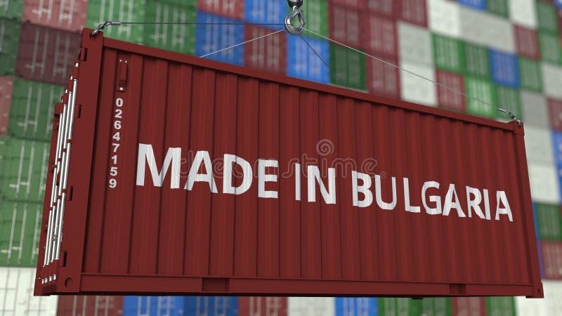 Contenitore di carico con FATTO nel titolo della BULGARIA Rappresentazione relativa bulgara 3D dell'esportazione o dell'importazi illustrazione di stock