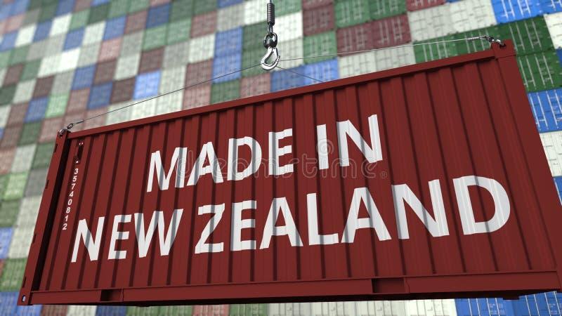 Contenitore di carico con fatto nel titolo della Nuova Zelanda Rappresentazione relativa 3D dell'esportazione o dell'importazione illustrazione di stock