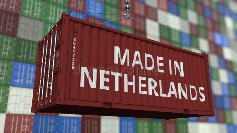 Contenitore di carico con FATTO nel titolo OLANDESE Rappresentazione relativa olandese 3D dell'esportazione o dell'importazione royalty illustrazione gratis