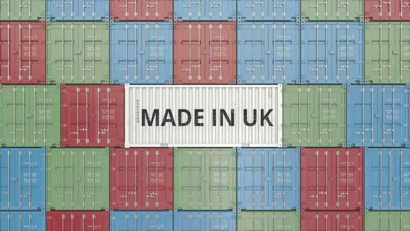 Contenitore di carico con FATTO IN testo BRITANNICO Britannici importano o esportano la rappresentazione relativa 3D royalty illustrazione gratis