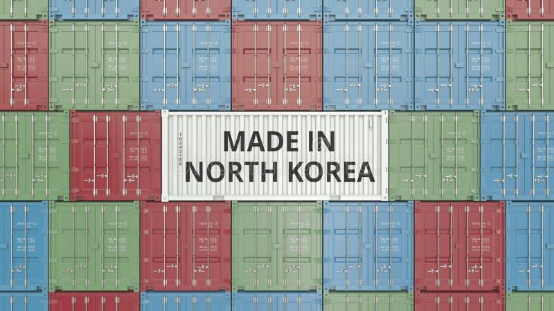 Contenitore di carico con FATTO IN testo della COREA DEL NORD Rappresentazione relativa coreana 3D dell'esportazione o dell'impor illustrazione vettoriale