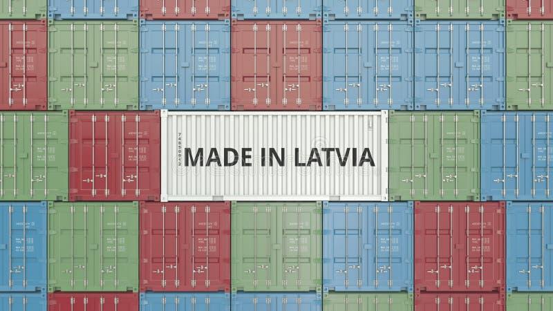 Contenitore di carico con FATTO IN testo della LETTONIA Rappresentazione relativa lettone 3D dell'esportazione o dell'importazion royalty illustrazione gratis