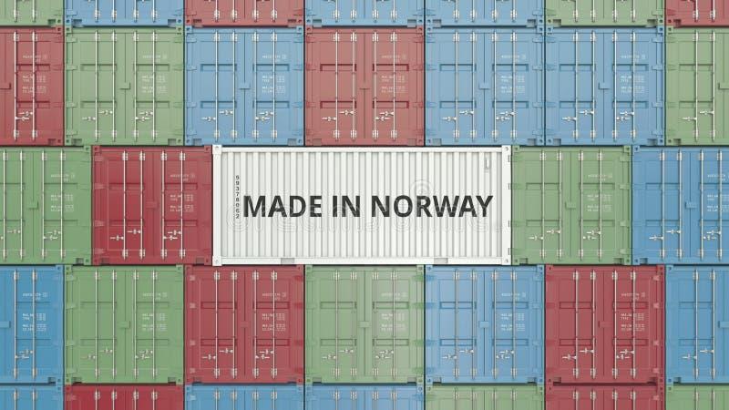 Contenitore di carico con FATTO IN testo della NORVEGIA Rappresentazione relativa norvegese 3D dell'esportazione o dell'importazi illustrazione vettoriale