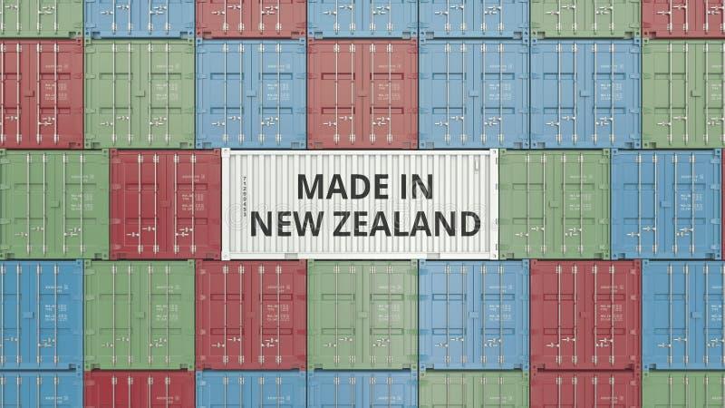 Contenitore di carico con FATTO IN testo della NUOVA ZELANDA Rappresentazione relativa 3D dell'esportazione o dell'importazione illustrazione di stock