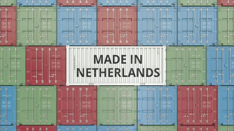 Contenitore di carico con FATTO IN testo OLANDESE Rappresentazione relativa olandese 3D dell'esportazione o dell'importazione illustrazione di stock