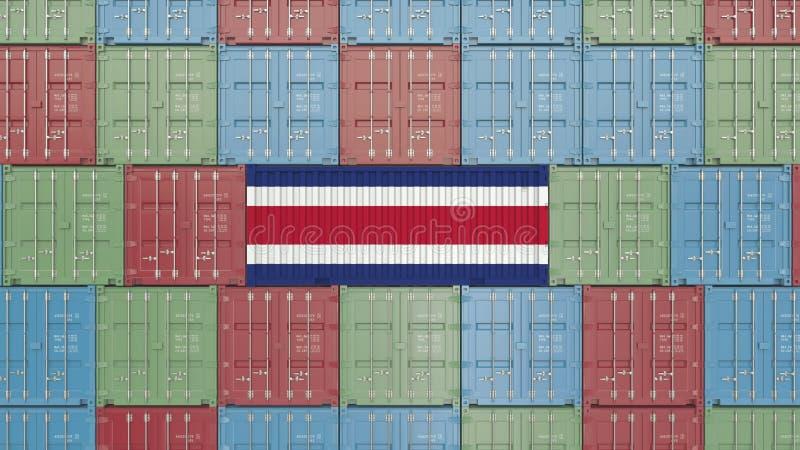 Contenitore di carico con la bandiera di Costa Rica Rappresentazione relativa 3D dell'esportazione o dell'importazione illustrazione vettoriale