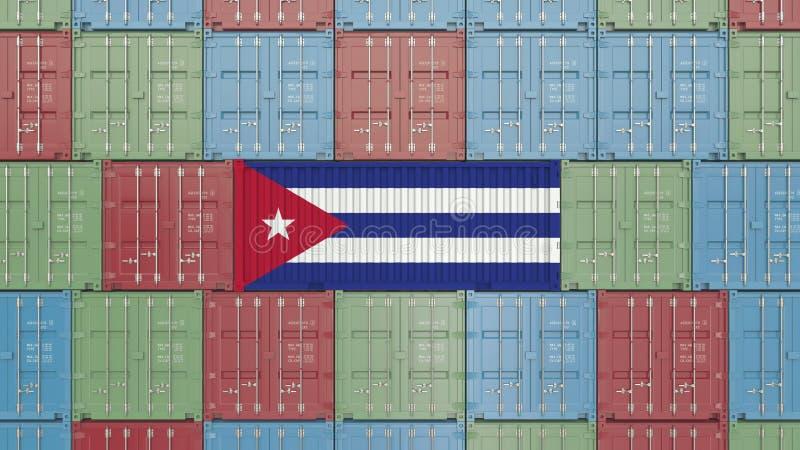 Contenitore di carico con la bandiera di Cuba Rappresentazione relativa cubana 3D dell'esportazione o dell'importazione royalty illustrazione gratis