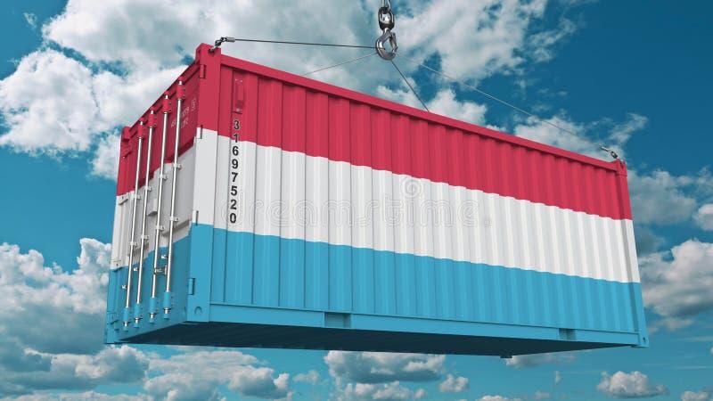 Contenitore di carico con la bandiera del Lussemburgo L'importazione lussemburghese o l'esportazione ha collegato la rappresentaz immagine stock libera da diritti