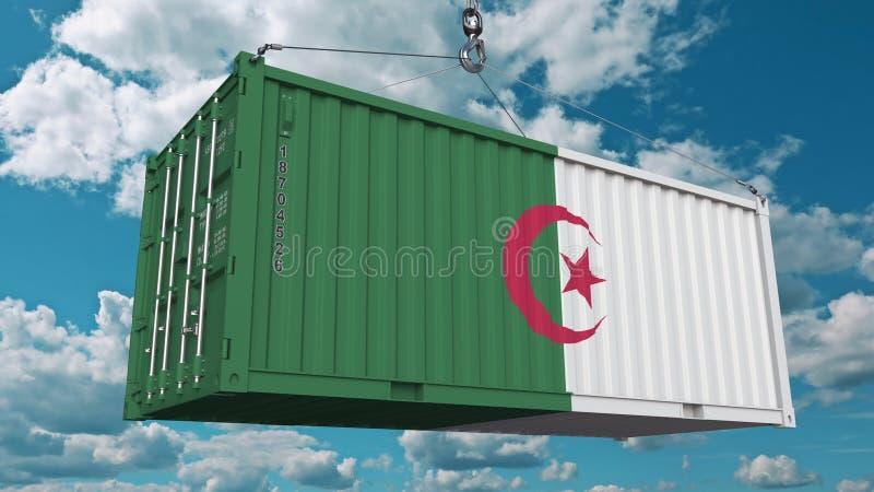 Contenitore di carico con la bandiera dell'Algeria L'importazione o l'esportazione algerina ha collegato la rappresentazione conc illustrazione di stock
