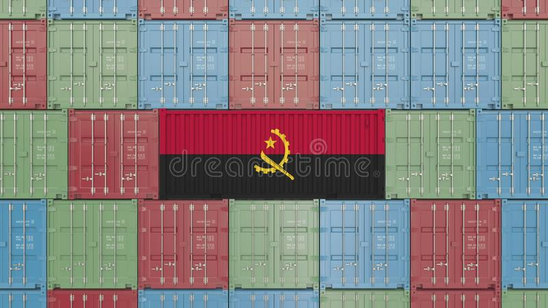 Contenitore di carico con la bandiera dell'Angola Rappresentazione relativa dell'Angola 3D dell'esportazione o dell'importazione illustrazione vettoriale