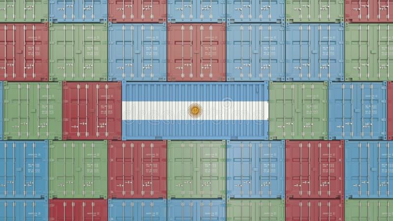Contenitore di carico con la bandiera dell'Argentina Rappresentazione relativa argentina 3D dell'esportazione o dell'importazione illustrazione vettoriale