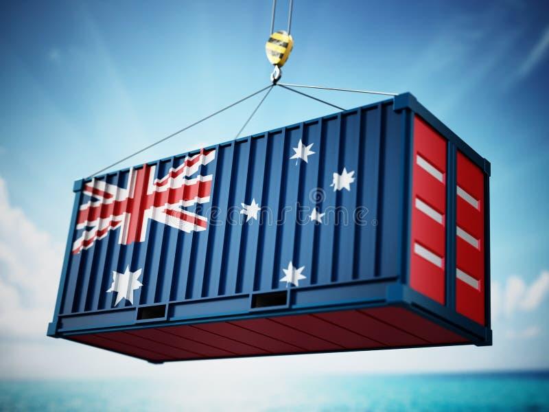 Contenitore di carico con la bandiera dell'Australia contro cielo blu illustrazione 3D royalty illustrazione gratis