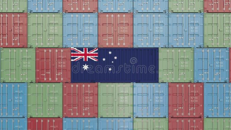 Contenitore di carico con la bandiera dell'Australia Rappresentazione relativa australiana 3D dell'esportazione o dell'importazio royalty illustrazione gratis