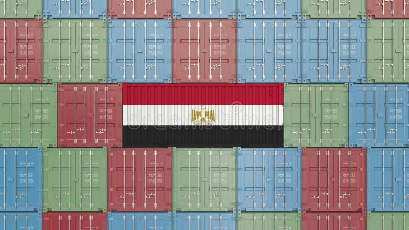 Contenitore di carico con la bandiera dell'Egitto Rappresentazione relativa egiziana 3D dell'esportazione o dell'importazione illustrazione di stock