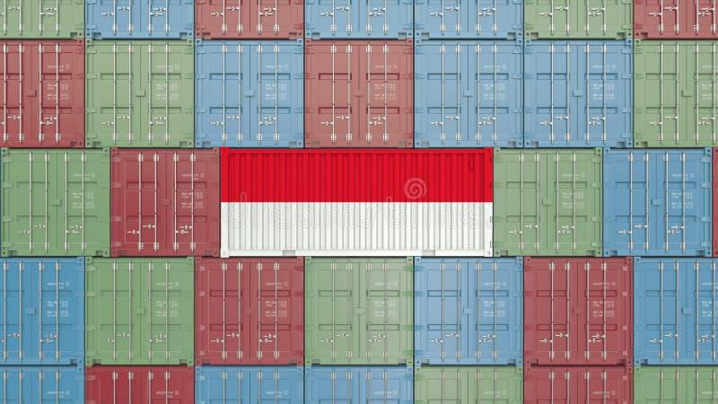 Contenitore di carico con la bandiera dell'Indonesia Rappresentazione relativa indonesiana 3D dell'esportazione o dell'importazio illustrazione vettoriale
