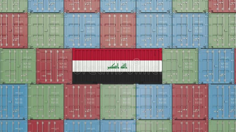 Contenitore di carico con la bandiera dell'Irak Rappresentazione relativa irachena 3D dell'esportazione o dell'importazione illustrazione vettoriale