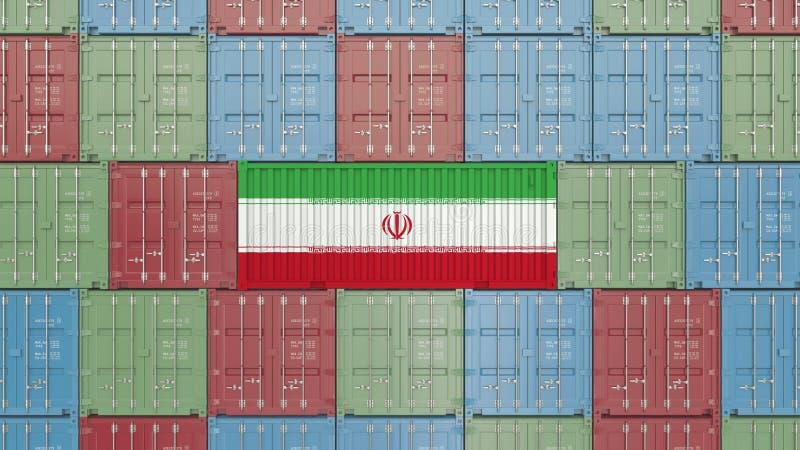 Contenitore di carico con la bandiera dell'Iran Rappresentazione relativa iraniana 3D dell'esportazione o dell'importazione royalty illustrazione gratis