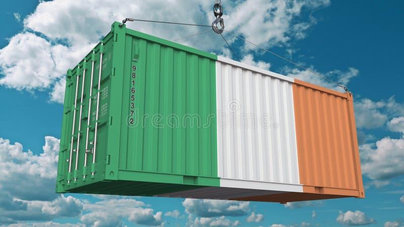 Contenitore di carico di carico con la bandiera dell'Irlanda L'importazione o l'esportazione irlandese ha collegato la rappresent illustrazione vettoriale