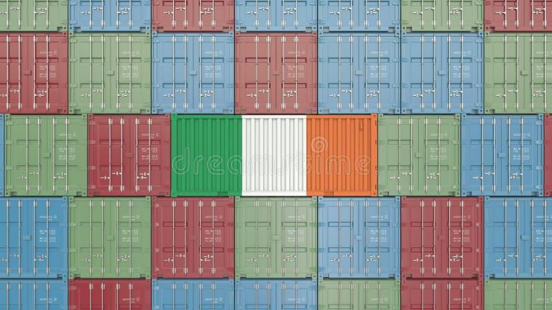 Contenitore di carico con la bandiera dell'Irlanda Rappresentazione relativa irlandese 3D dell'esportazione o dell'importazione royalty illustrazione gratis